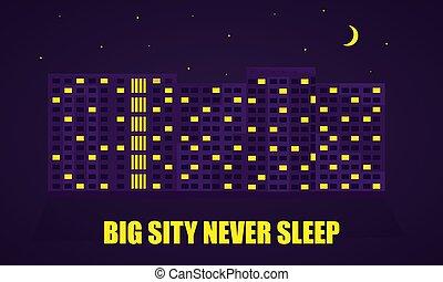 nuit, couleur, city., illustration, vecteur, sombre, plat, illustration.