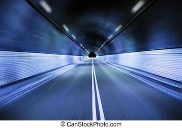 nuit, creux, vieux, conduite, tunnel