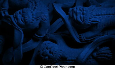 nuit, dépassement, bâtiment, dragon, découpage, asiatique