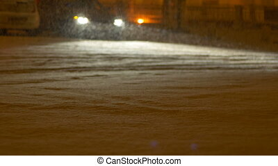 nuit, déposé, rue, neiger