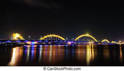 nuit, danang, dragon, ville, pont