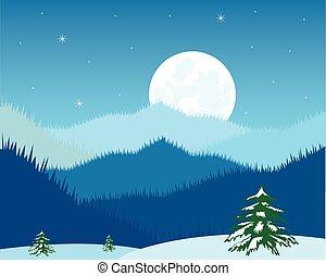 nuit dans, montagne