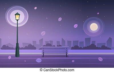 nuit dans, parc ville