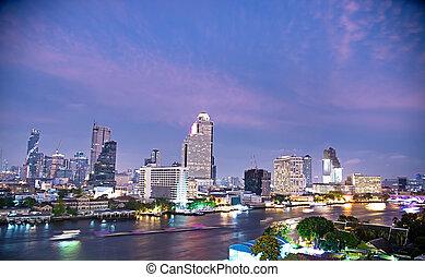 nuit, de, bangkok, métropolitain
