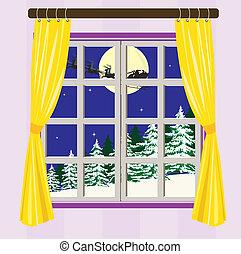 nuit, dehors, hiver, vue