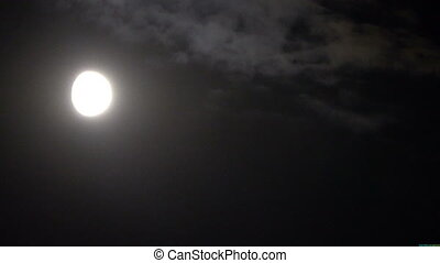 nuit, derrière, entiers, nuages, lune