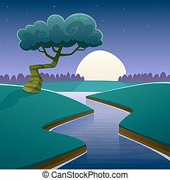 nuit, dessin animé, paysage