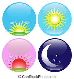 nuit, ensemble, jour, icônes