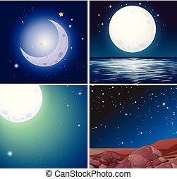 nuit, ensemble, scènes, lune