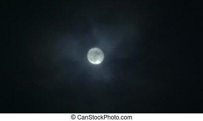 nuit, entiers, dehors, nuage, lune