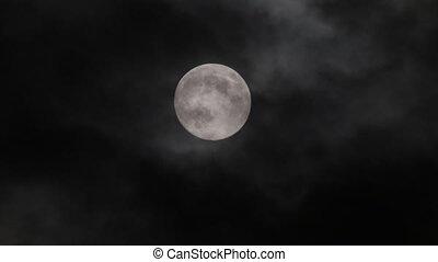 nuit, entiers, nuage, lune