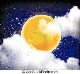 nuit, entiers, nuages, étoile, lune