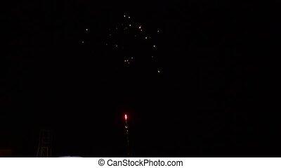 nuit, exposition, beau, feux artifice, ciel, hd