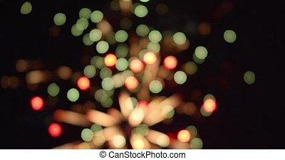 nuit, feux artifice, célébration, explosion, bokeh