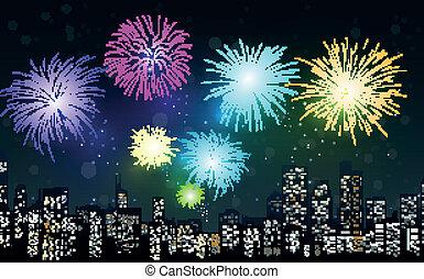 nuit, feux artifice, scène ville