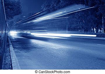 nuit, financier, rue, moderne, pistes, lumière, beijing
