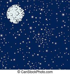 nuit, fond, ciel, étoiles, lune