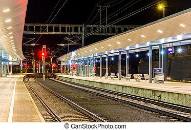 nuit, gare, autrichien, feldkirch