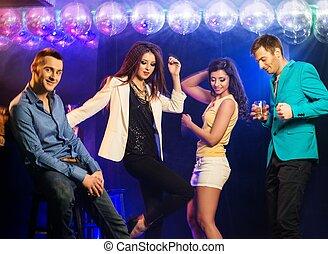nuit, gens, danse, heureux, club, jeune, groupe
