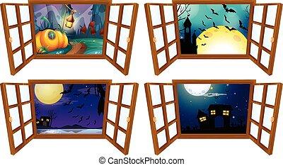 nuit halloween, fenêtre