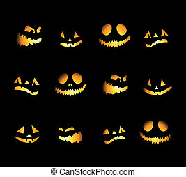 nuit halloween, fond, potirons