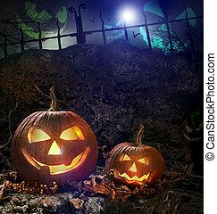 nuit halloween, rochers, potirons