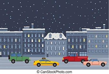 nuit, hiver, cityscape, ville, voitures, rue