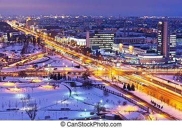 nuit, hiver, panorama, de, minsk, belarus