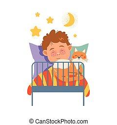 nuit, illustration, garçon, vecteur, dormir, couvert taches rousseur, lit, chouchou, chat, mignon