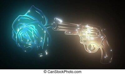 nuit, incandescent, club, revolver., néon, tireur, pistolets...