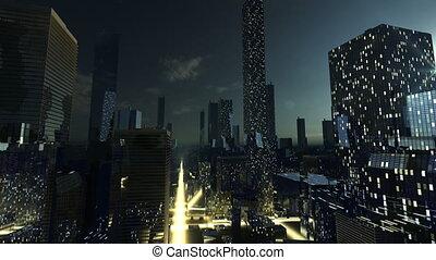 nuit, incandescent, moderne, s, ville
