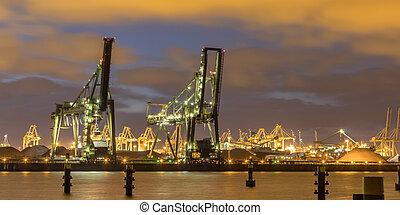 nuit, industriel, chargement, paysage, deux, grues, port