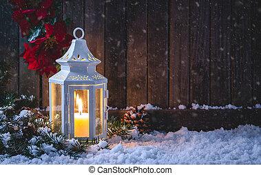 nuit, lanterne, scène, incandescent, neigeux
