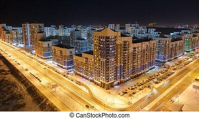 nuit, levers de soleil, russie, résidentiel, area., universitaire, coucher soleil, ekaterinburg