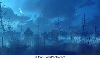 nuit, lumières, cimetière, 4k, magie, abandonnés