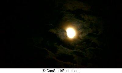 nuit, lune, par, entiers, nuageux