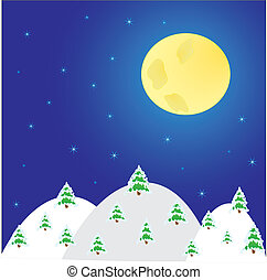 nuit, lune, paysage, arbres, hiver