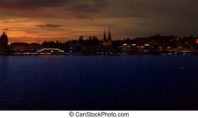 nuit, luzerne, cityscape
