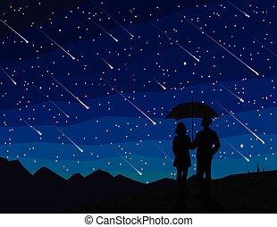 nuit, météore, sky., silhouette, starfall., shower., sous, étoilé, regarder, tomber, stars., couple, parapluie