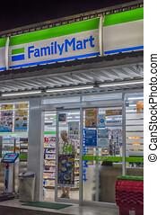 nuit, magasin, marché, commodité, famille