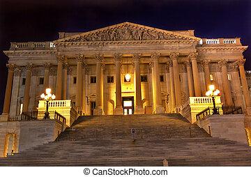 nuit, maison, représentants, capitole, nous, nord, côté, laver, étoiles