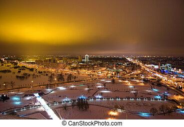 nuit, minsk, -, capital, de, belarus