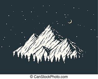 nuit, montagne, illustration