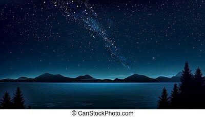 nuit, montagne, voie lactée, paysage