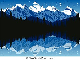 nuit, montagnes, lac, ciel, sous, forêt, pin