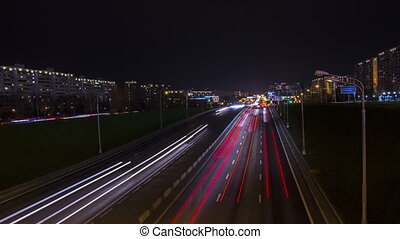 nuit, moscow., feux circulation, autoroute, timelapse