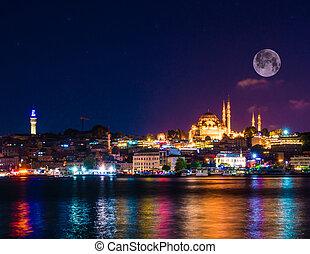 nuit, mosquée, turquie, istanbul