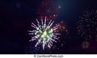 nuit, multi coloré, boucle, ciel, animation, feux artifice, arrière-plan., beau