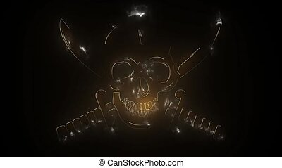 nuit, néon, signe., os, bones., terrifié, traversé, clair,...