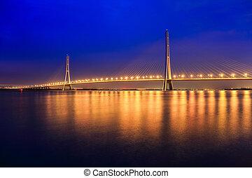 nuit, nanjing, stayed, pont, câble, beau